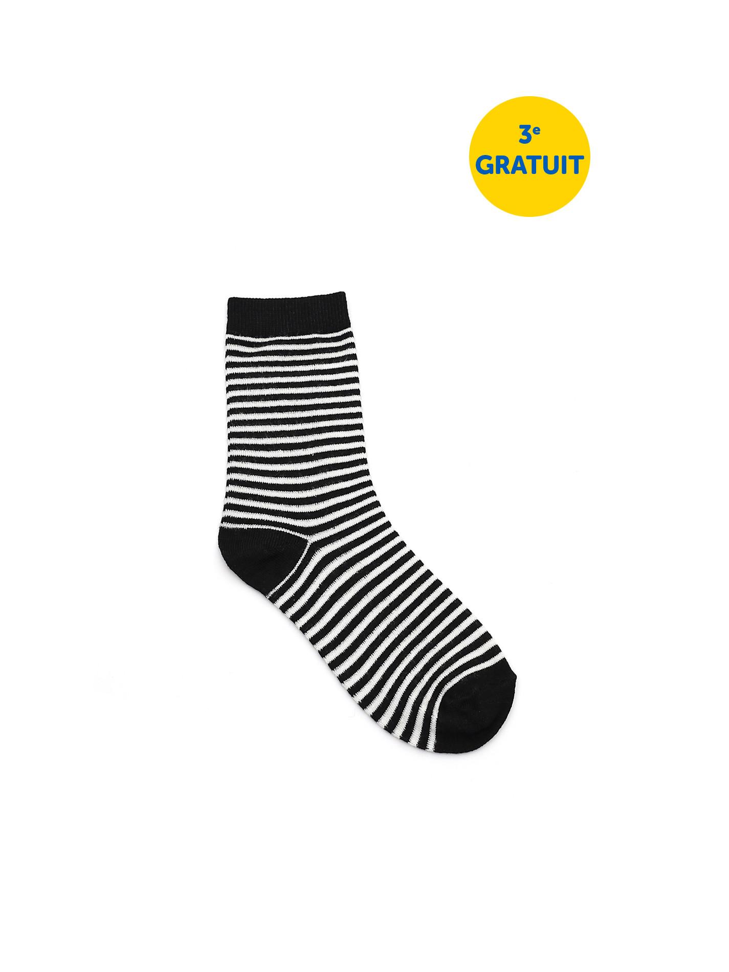 Bas femme à rayures - Rayé noir & blanc